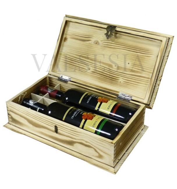 Drevená darčeková truhlica na víno opaľovaná 2 x 0.75 l