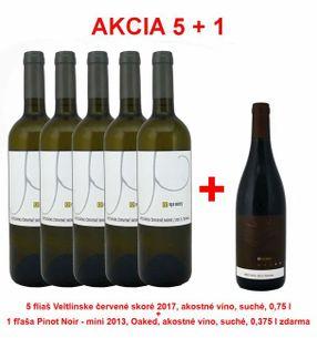 Akcia 5 + 1 REPA WINERY 5 fliaš Veltlínske červené skoré 2017, akostné víno, suché, 0,75 l +1 fľaša Pinot Noir - mini 2013, Oaked, akostné víno, suché