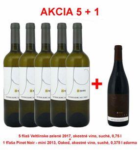 Akcia 5 + 1 REPA WINERY 5 fliaš Veltlínske zelené 2017, akostné víno, suché, 0,75 l +1 fľaša Pinot Noir - mini 2013, Oaked, akostné víno, suché, 0,375