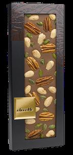 ChocoMe - Mliečna čokoláda 40% pekanové orechy, mandle, pistácie z Bronte, 100g