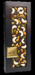 ChocoMe - Tmavá čokoláda 66% kešu, pražené arašidy v mede, pistácie, 100g