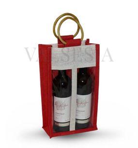 Darčeková jutová taška červená na 2 fľaše
