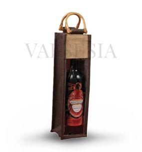 Darčeková jutová taška hnedá na 1 fľašu