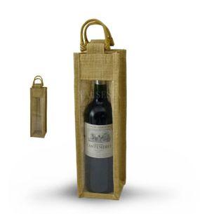 Darčeková jutová taška na 1 fľašu