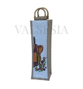 Darčeková jutová taška na 1 fľašu s obrázkom