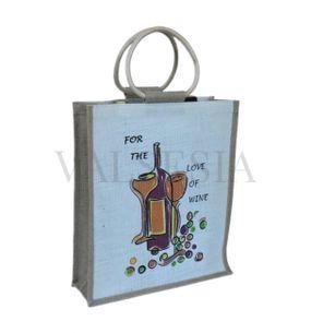 Darčeková jutová taška na 3 fľaše s obrázkom