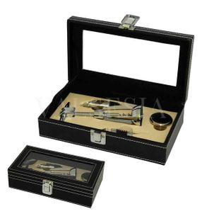 Darčeková krabička BLACK LEATHER s vinárskou súpravou 4 pomôcok