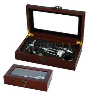 Darčeková krabička MAHAGON presklenená s vinárskou súpravou 4 pomôcok