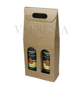 Darčekový kartónový obal na víno 2 x 0,75 l - prírodný