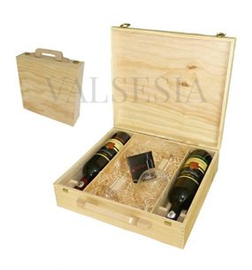 Drevený darčekový kufrík Mrva & Stanko 2 x 0.75l s pohármi
