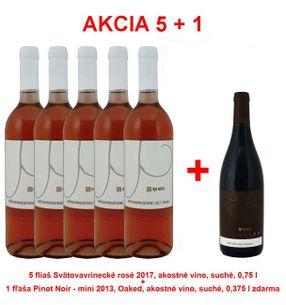 Akcia 5 + 1 REPA WINERY 5 fliaš Svätovavrinecké rosé 2017, akostné víno, suché, 0,75 l +1 fľaša Pinot Noir - mini 2013, Oaked, akostné víno, suché, 0,
