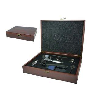 Vývrtka na víno DELUXE s príslušenstvom v darčekovej krabičke - mahagon