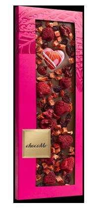 ChocoMe - Mliečna čokoláda, brusnice, maliny, jahody a čokosrdce, 100g
