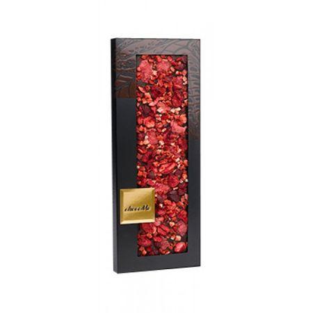 ChocoMe - Tmavá čokoláda 66%, ružové lupienky, jahoda, višňa, škorica, 110g