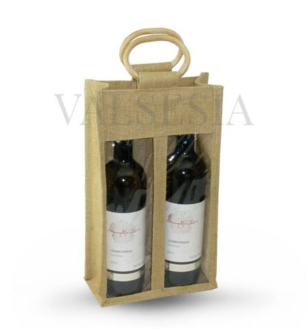 Darčeková jutová taška na 2 fľaše