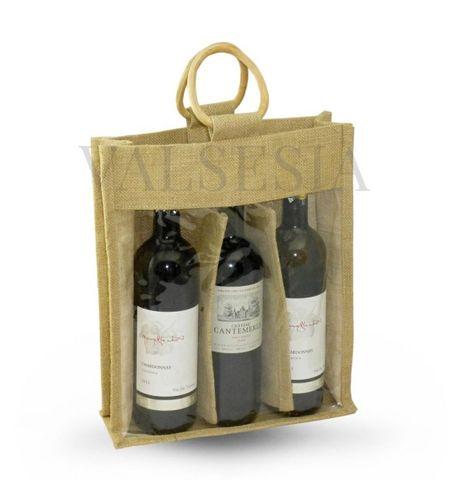Darčeková jutová taška na 3 fľaše