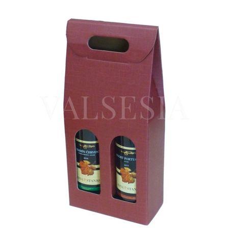Darčekový kartónový obal na víno 2 x 0,75 l - bordový