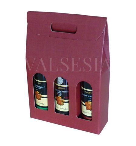 Darčekový kartónový obal na víno 3 x 0,75 l - bordový
