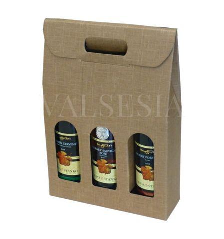 Darčekový kartónový obal na víno 3 x 0,75 l - prírodný