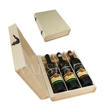 Darčekový obal - drevená kniha 3 x 0.75 l