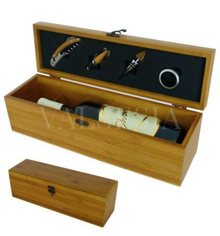 Darčekový obal na 1 víno bambus + 4 vinárske pomôcky