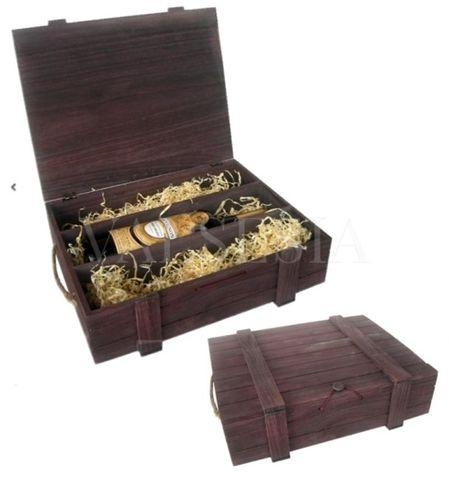 Drevený darčekový obal na víno - hnedý 3 x 0.75 l