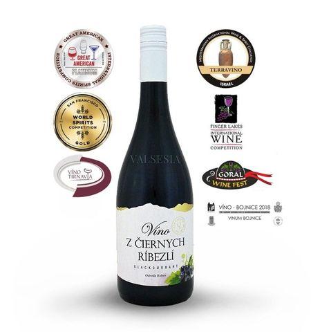 Víno z čiernych ríbezlí, značkové ovocné víno, sladké, 0,75 l