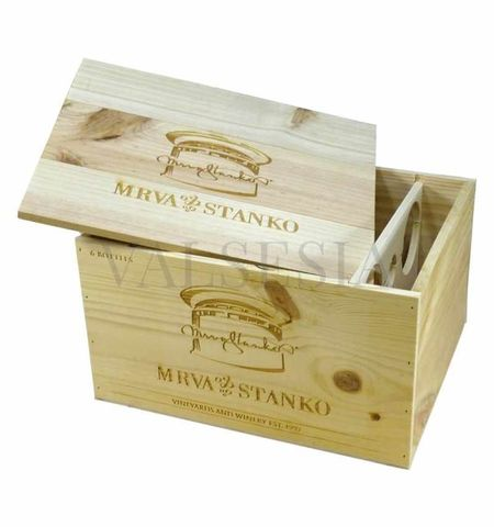 Darčekový obal - drevená debna Mrva & Stanko Exclusive 6 x 0.75l