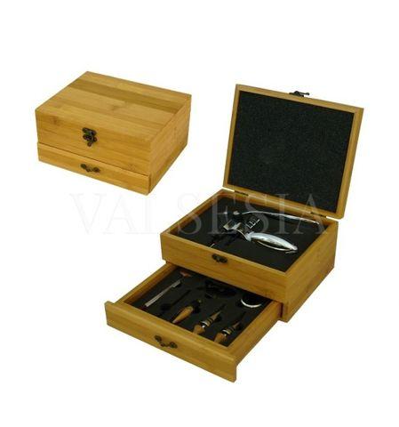 Vývrtka na víno DELUXE s príslušenstvom v darčekovej krabičke - bambus
