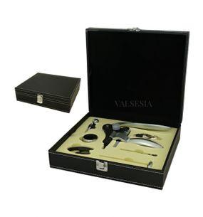 Vývrtka na víno DELUXE s príslušenstvom v darčekovej krabičke - čierna